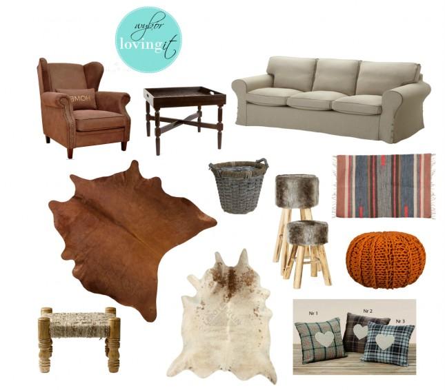 rustykalny styl w skandynawskim salonie,brązowy fotel,fotel uszak,drewniany stolik z tacą,szara kanapa,szara sofa,pleciona osłona na doniczkę,stołki z futrem,drewniane taborety z futrem,dziergany puf,pomarańczowy puf,kolorowy dywanik skandynawski,etniczny dywanik w stylu skandynawskim,bydlęca skóra,biało-brązowa skóra bydlęca na podłogę,brązowa skóra na podłogę,drewniany podnóżek z jutą,rustykalne poduszki,poduszki w kratkę
