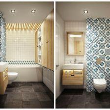 betonowe płytki na posadzce,biało-niebieska glazura hiszpańska,drewniana sklejka na ścianie i zabudowie umywalki w łazience (26857)